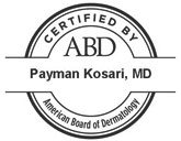 American Board of Dermatology Certification Seal for Payman Kosari, MD
