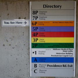 Charlotte office parking deck directory