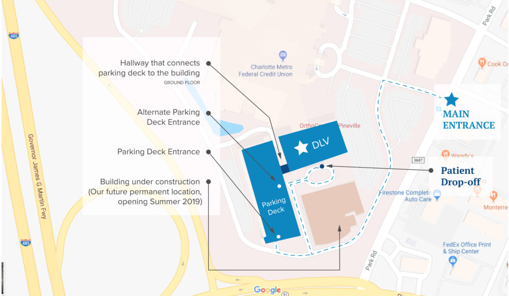 map of DLVSC Pineville office, parking deck and future location